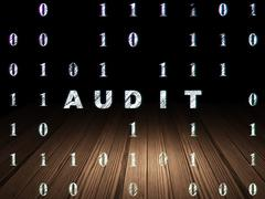 Business concept: Audit in grunge dark room - stock illustration