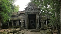 4K Mysterious entrance ancient ruin temple and jungle forest, Ankgor, Cambodia Stock Footage