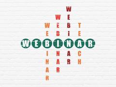 Education concept: Webinar in Crossword Puzzle - stock illustration