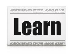 Learning concept: newspaper headline Learn Stock Illustration