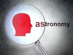 Education concept: Head and Astronomy with optical glass - stock illustration
