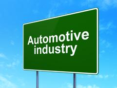 Industry concept: Automotive Industry on road sign background Stock Illustration