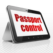 Travel concept: Tablet Computer with Passport Control on display - stock illustration