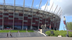PGE Narodowy, Poland National Stadium in Warsaw - sunny summer - Panoramic Stock Footage