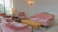 Pink Living Room Interior Victorian Gothic Revival Style Stock Footage