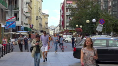 Pedestrian street in warsaw, Poland - sunny summer day - slow motion Stock Footage