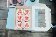 Eco-friendly French makarons cake on the table Stock Photos