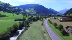 Aerial view, Panorama of the Rauris valley in Salzburg, Austria Stock Footage