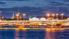 Annunciation Bridge, the drawbridge, the bridge on the river Neva, Saint Petersb Stock Footage