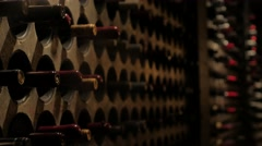 Wine Cellar Bottles Closeup Focus Pull Interior Vintage Victorian Gothic Revival Stock Footage
