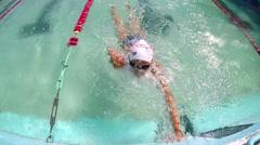 Girl training swimming crawl, SLOW MOTION Stock Footage