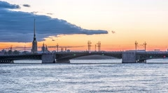 The Palace Bridge (Dvortsoviy Most). White Nights. Saint Petersburg, Russia. Stock Footage