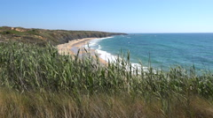 View over coastal Landscape Alentejo Portugal, camera pan over sandy beach Stock Footage