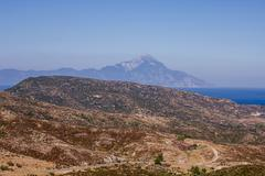 Scenic view of nature rural landscape and Holy Mountain Athos, Greece, Summer Stock Photos