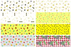 Collection of swatches memphis patterns - seamless. Stock Illustration