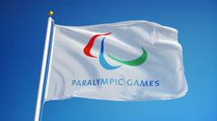 Rio 2016 Paralympic Games flag in slow motion seamlessly looped with alpha Stock Footage