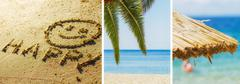 Summer travel vacation collage,smiley at beach, palm tree and sunshade. Stock Photos