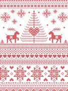 tall xmas pattern with reindeer - stock illustration