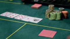 Poker Players Wins and Takes the Money Stock Footage