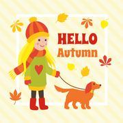 Autumn card with cute cartoon girl walking a dog Stock Illustration
