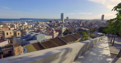 Panoramic view of Alicante city a view from Mount Benacantil in a sunset. Stock Footage