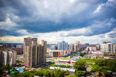 Beautiful cloud and sky on cityscape background in Cloudy day after rain - stock photo