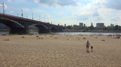 Urban summertime, Sand beach in city - River in Warsaw, Poland - panoramic Stock Footage