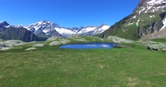 Alpine lake in high mountain - Aerial footage Stock Footage