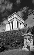 Italy, Rome, bronze statue and the Victorian Palace (Vittoriano) Stock Photos