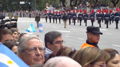Chile marching band going out in Bicentennial independence day celebrations Stock Footage