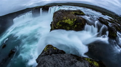 Godafoss powerful scenic waterfall dreamlike time lapse slow motion fish eye 4k  Stock Footage