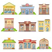 Commercial Buildings Exterior Design Set Of Stickers - stock illustration