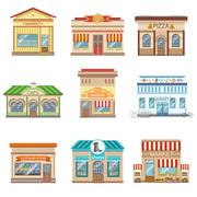 Commercial Buildings Facade Design Set Of Stickers - stock illustration