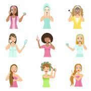 Girls Preening Up Using Masks And Creams Stock Illustration