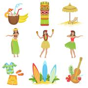 Hawaiian Vacation Set Of Classic Symbols Stock Illustration