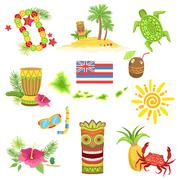 Hawaii Beach Vacation Related Set Of Objects Stock Illustration