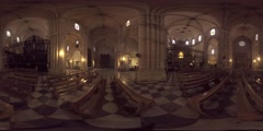 4K 360VR video,  Spain Murcia architecture landmarks Cathedral interior. Stock Footage