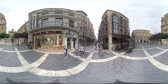 4K 360VR video, Spain Murcia architecture landmarks old town narrow streets. Stock Footage