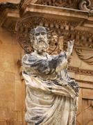 Italy, Sicily, Modica, St. Peter's Cathedral, baroque statue Stock Photos
