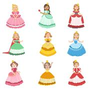 Little Girls Dressed As Fairy Tale Princesses Stock Illustration