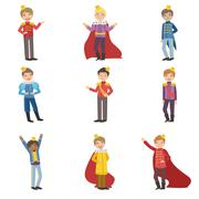 Little Boys Dressed As Fairy Tale Princes - stock illustration