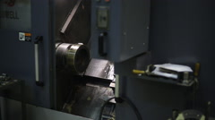 Mounted on spindle of CNC machine for processing, metal processing, in workshop Stock Footage