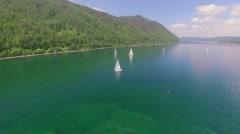 Aerial Photo. Sailing regatta on the river Angara Stock Footage