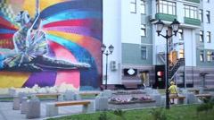 Graffiti with a ballerina on Bolshaya Dmitrovka in Moscow Stock Footage
