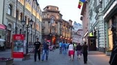 People walking on Kuznetsky Most Street in Moscow. Stock Footage
