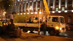 Trees in the truck during the planting trees along Tverskaya Street. Stock Footage