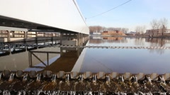 The movement along the edge of the sewage tank with water Stock Footage