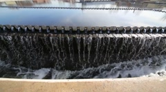The trough to drain the waste water at the settler edge Stock Footage
