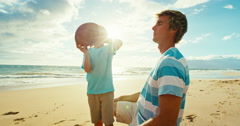 Father Son Playing Football Stock Footage