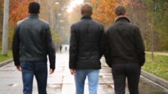 Three young men walking on the wet road in the autumn park, rear view Stock Footage